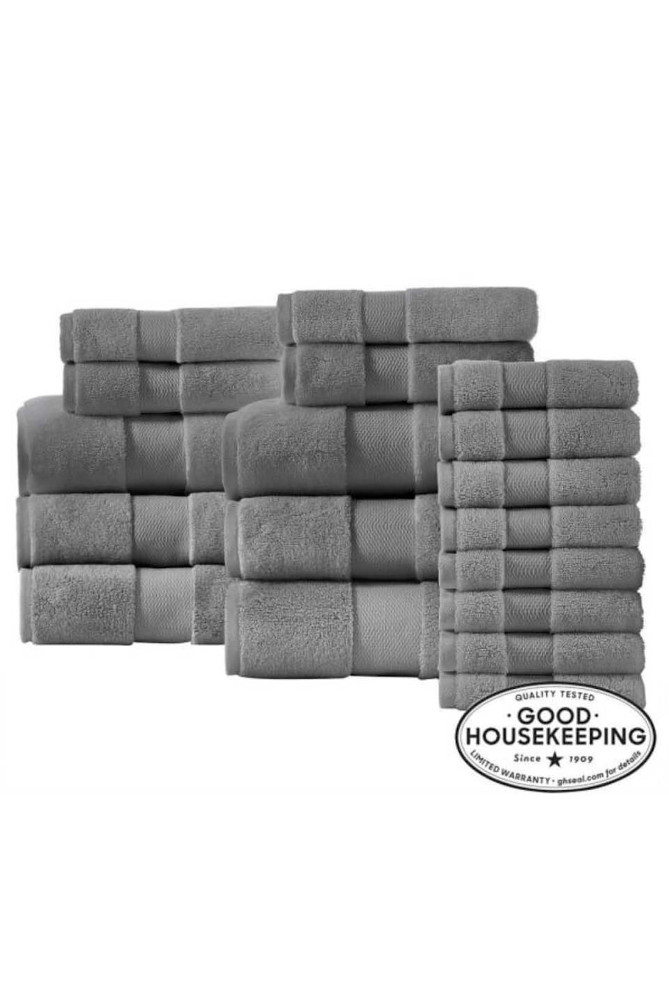 """<p><strong>Home Decorators Collection</strong></p><p>homedepot.com</p><p><strong>$158.00</strong></p><p><a href=""""https://go.redirectingat.com?id=74968X1596630&url=https%3A%2F%2Fwww.homedepot.com%2Fp%2FHome-Decorators-Collection-Plush-Soft-Cotton-18-Piece-Towel-Set-in-Stone-Gray-91306ABHWS18%2F310240450&sref=https%3A%2F%2Fwww.goodhousekeeping.com%2Fhome-products%2Ftowel-reviews%2Fg5037%2Fbest-bath-towel-reviews%2F"""" rel=""""nofollow noopener"""" target=""""_blank"""" data-ylk=""""slk:Shop Now"""" class=""""link rapid-noclick-resp"""">Shop Now</a></p>"""