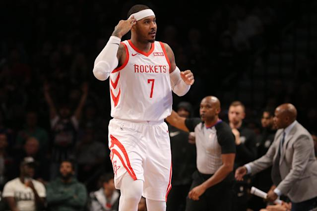 Carmelo Anthony is reportedly making his NBA return in Portland. (Brad Penner/USA Today)