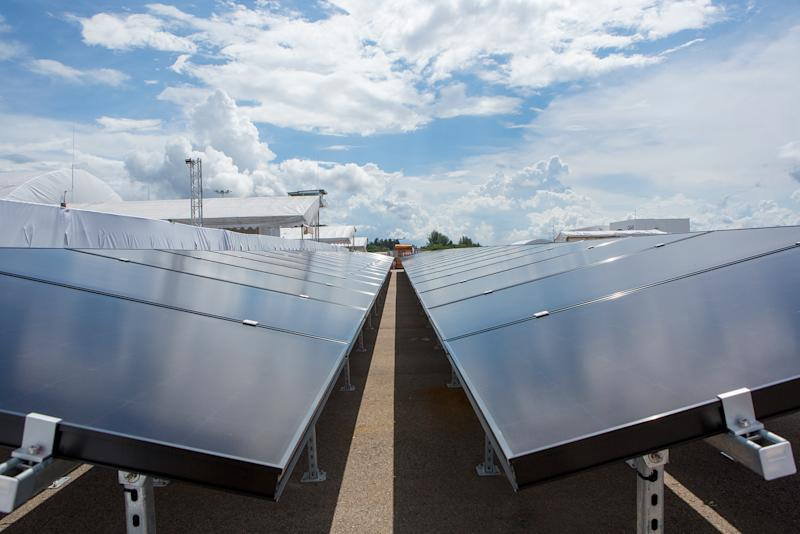 Around 1,130 solar panels have been installed around the CRF to help with its power needs. (PHOTO: Dhany Osman / Yahoo News Singapore)