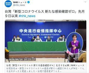 ▲台灣單日0確診的消息登上日媒。|NHK, Japan's national broadcasting organization also reported on this inspiring news, stirring an online discussion in Japan. (圖/翻攝NHK推特|Courtesy of Twitter/NHK)