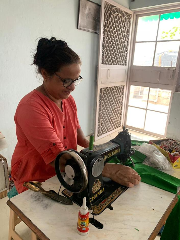 Alka Dhuliya at the workspace at her home.