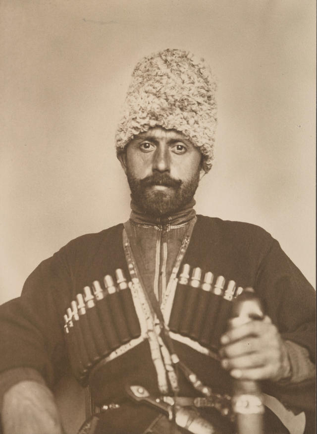 <p>Cossack man from the steppes of Russia. (Photograph by Augustus Sherman/New York Public Library) </p>