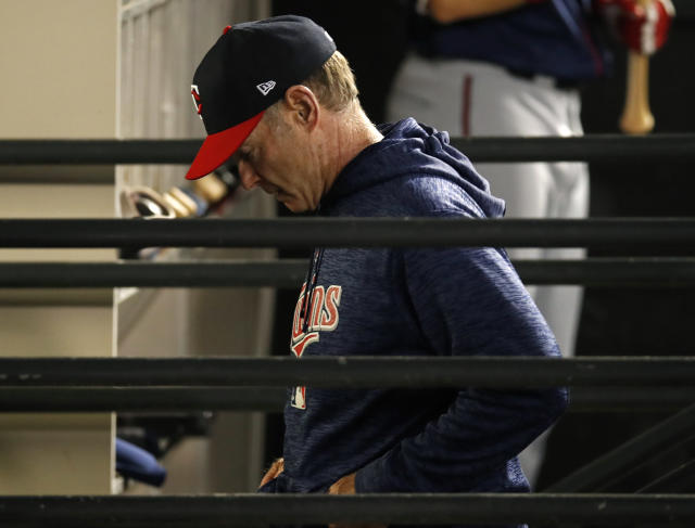 FILE - In this June 22, 2018, file photo, Minnesota Twins manager Paul Molitor leaves the dugout after being ejected during the sixth inning of the team's baseball game against the Chicago White Sox, in Chicago. The Twins announced Tuesday, Oct. 2, 2018, that Molitor will not return as manager in 2019. Molitor has been offered a position to stay with the organization in a Baseball Operations capacity and will consider the offer. (AP Photo/Jim Young, File)