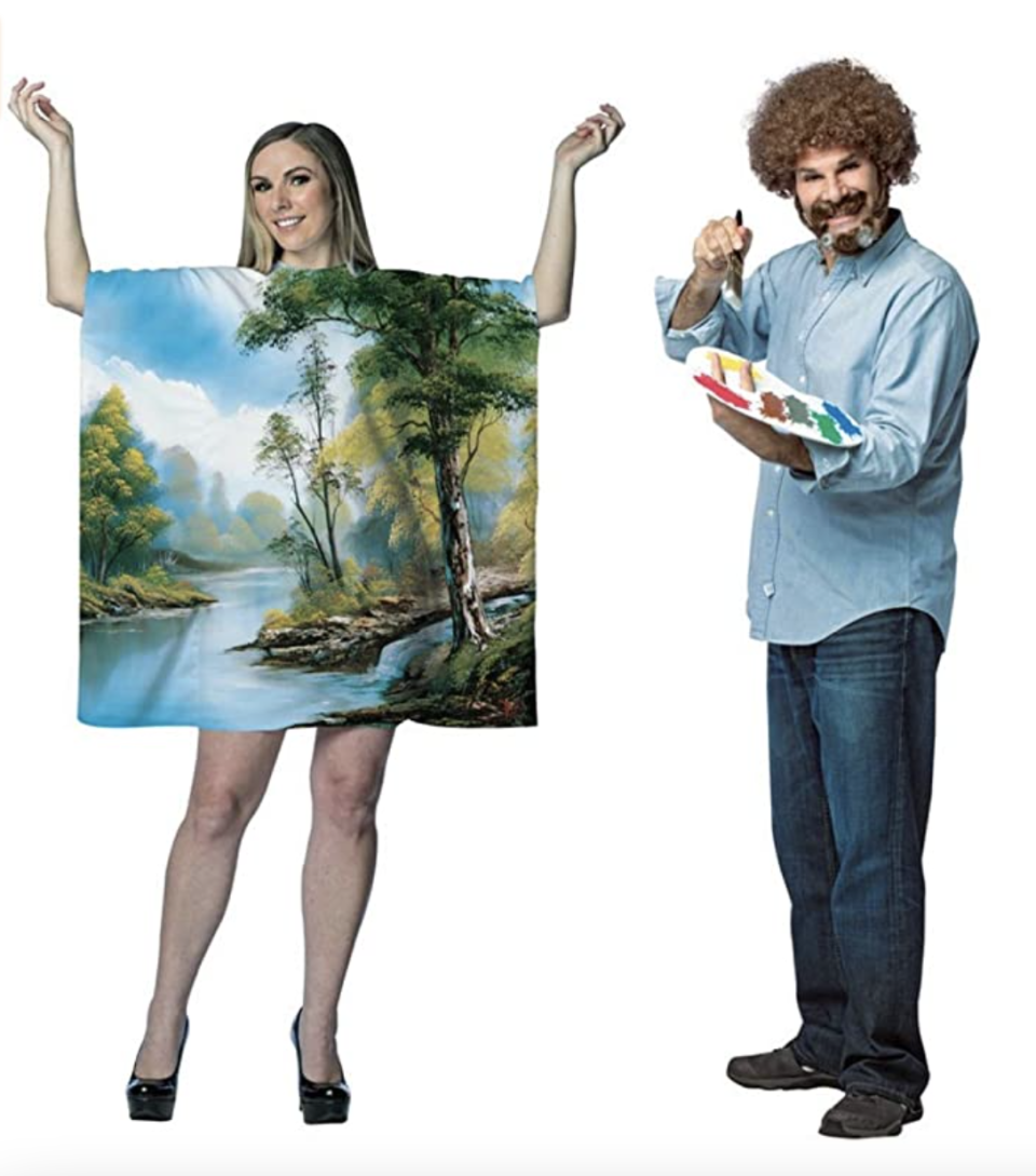Bob Ross Couples Costume with woman as painting