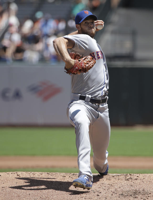 New York Mets pitcher Steven Matz throws to a San Francisco Giants batter during the first inning of a baseball game in San Francisco, Sunday, July 21, 2019. (AP Photo/Jeff Chiu)