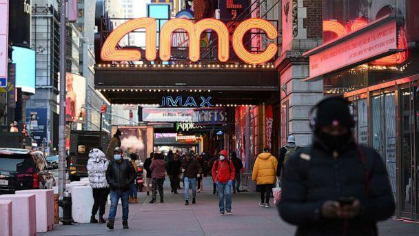 PHOTO: AMC Empire 25 theater reopens after COVID-19 closures, March 5, 2021, in New York. (Evan Agostini/Invision/AP)