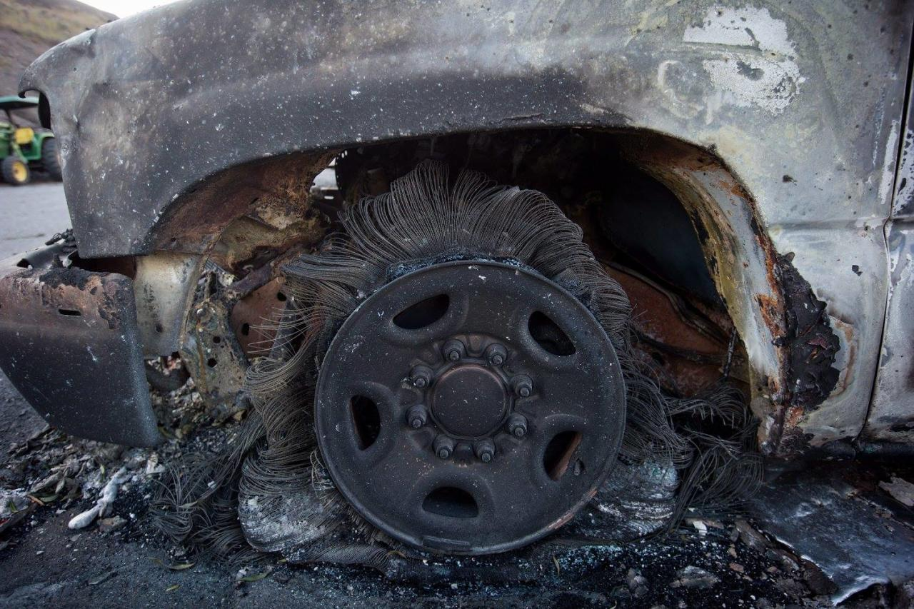 <p>A burnt wheel on a vehicle is seen at a trailer park almost completely destroyed by wildfire in Boston Flats, B.C. Photo from The Canadian Press </p>
