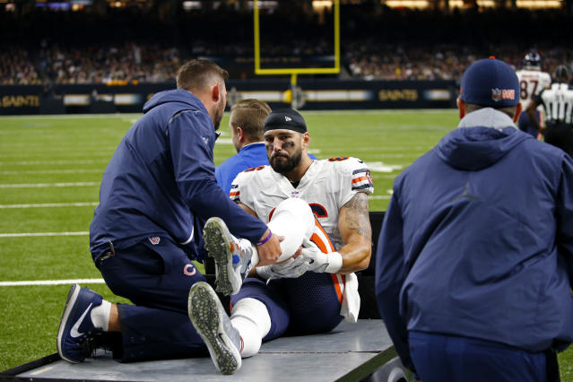 """The swift action of <a class=""""link rapid-noclick-resp"""" href=""""/nfl/teams/chi/"""" data-ylk=""""slk:Chicago Bears"""">Chicago Bears</a> trainers and doctors at a New Orleans hospital helped save <a class=""""link rapid-noclick-resp"""" href=""""/nfl/players/9444/"""" data-ylk=""""slk:Zach Miller"""">Zach Miller</a>'s left leg after an October injury. (AP)"""