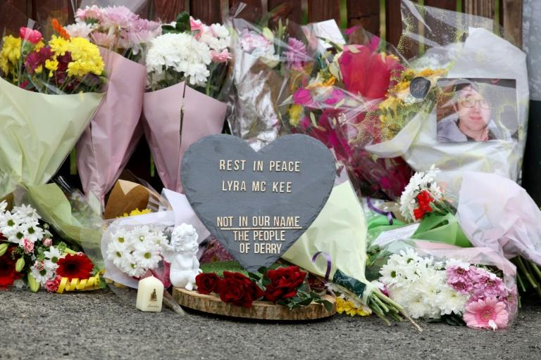 Floral tributes have been laid at the scene of Lyra McKee's killing