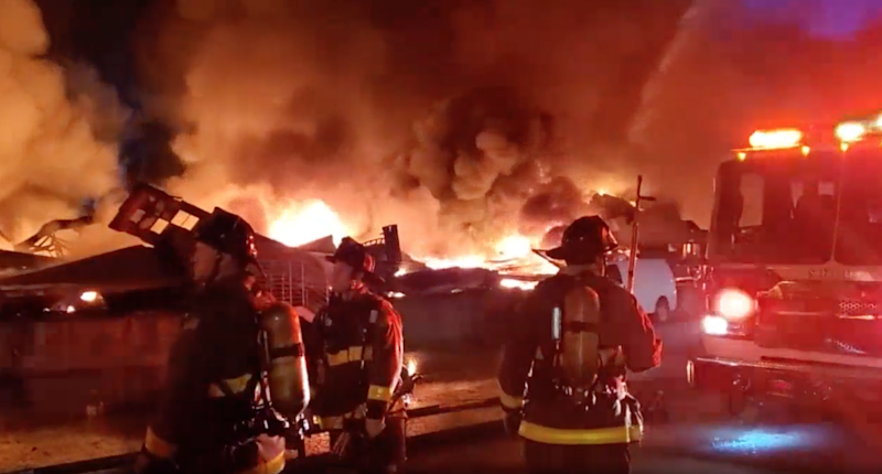 A raging fire ripped through warehouses at San Francisco's Pier 45 in the early hours of Saturday morning: NBC Bay Area