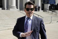Anthony Scaramucci leaves Federal court, in New York, Thursday, June 24, 2021. He was to testify in the trial of Chicago banker, Stephen Calk, on charges he tried to buy himself a senior post in former President Donald Trump's administration by making risky loans to Trump onetime campaign chairman, Paul Manafort. (AP Photo/Richard Drew)
