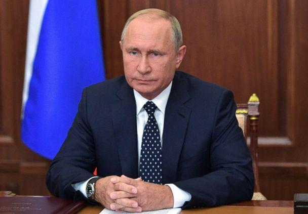 PHOTO: Russian President Vladimir Putin speaks during an address to the nation concerning a pension reforms proposed by the government, in Moscow, Aug. 29, 2018.  (Alexey Druzhinin/AFP/Getty Images)