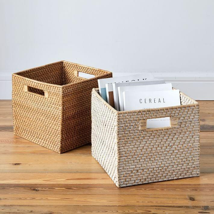 <p>This <span>Modern Weave Storage Bin</span> ($42 each) will give them a place to store all their magazines or work essentials.</p>