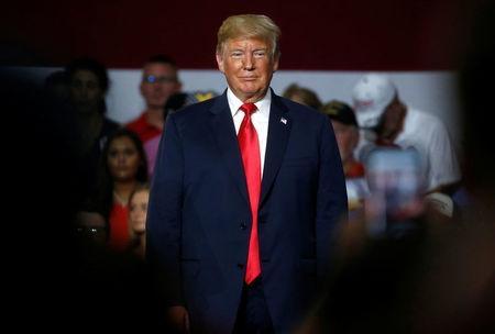 U.S. President Donald Trump holds a Make America Great Again rally in Olentangy Orange High School in Lewis Center, OH, U.S.
