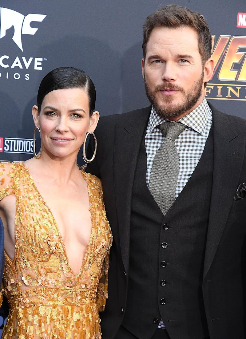 "Evangeline Lilly and Chris Pratt arrive at the ""Avengers: Infinity War"" premiere."