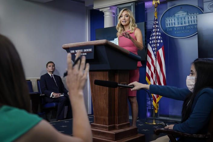 White House press secretary Kayleigh McEnany at a Monday press briefing. (Drew Angerer/Getty Images)