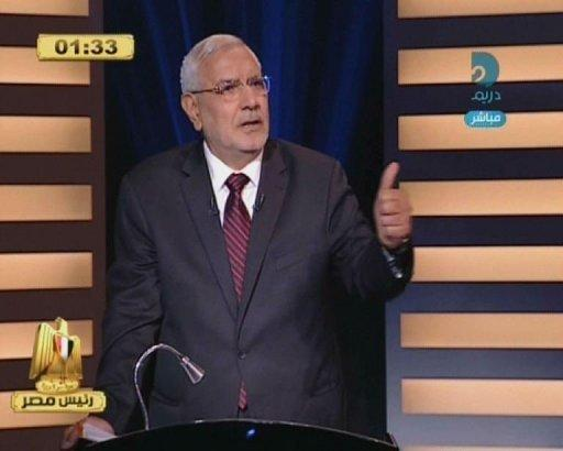 An image grab taken from the private Egyptian Dream TV channel shows Abdel Moneim Abul Fotouh speaking during a live debate in Cairo. Egypt held its first ever debate between presidential candidates on Thursday, as the two frontrunners for this month's election traded political accusations on television