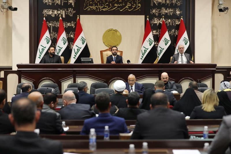 Members of the Iraqi parliament are seen at the parliament in Baghdad