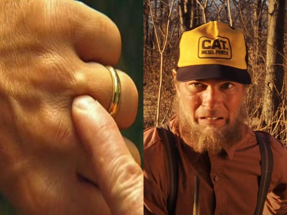 """A side by side image of two scenes from """"The Royal Tenenbaums;"""" on the left is a close up of a finger pushing a BB lodged in between the knuckles of another hand, and on the right is Margo's Amish relative looking pained after accidentally chopping off her finger."""