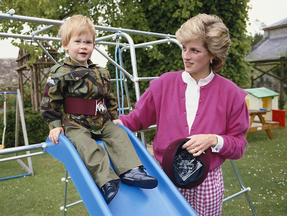 <p>For some outdoor play time with a young Prince Harry, Diana wore a pink knit over a white shirt and gingham pants.</p>