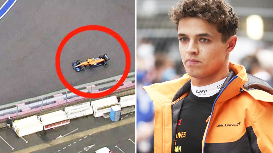 Lando Norris, pictured here after sliding off the track in the Russian Grand Prix.