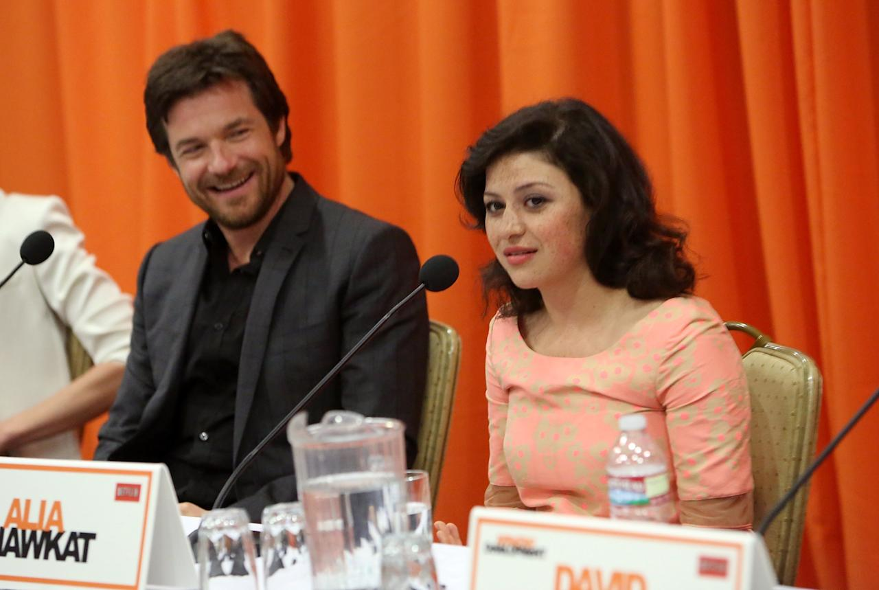 "UNIVERSAL CITY, CA - MAY 04:  Actors Jason Bateman and Alia Shawkat attend The Netflix Original Series ""Arrested Development"" Press Conference at Sheraton Universal on May 4, 2013 in Universal City, California.  (Photo by Jesse Grant/Getty Images for Netflix)"