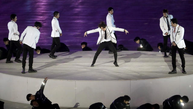 EXO performs during the closing ceremony of the 2018 Winter Olympics in Pyeongchang. (AP Photo)