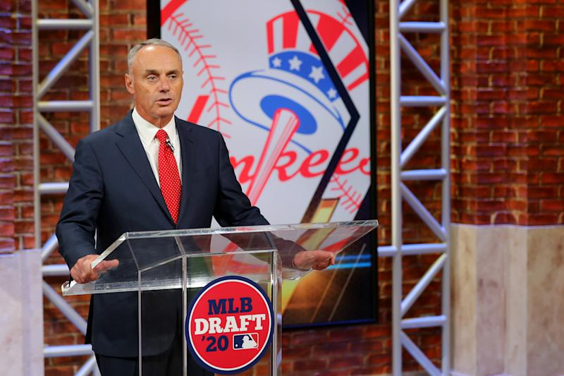 SECAUCUS, NJ - JUNE 10: Major League Baseball Commissioner Robert D. Manfred Jr. announces the 28th pick of the 2020 MLB Draft is Austin Wells by the New York Yankees during the 2020 Major League Baseball Draft at MLB Network on Wednesday, June 10, 2020 in Secaucus, New Jersey. (Photo by Alex Trautwig/MLB Photos via Getty Images)
