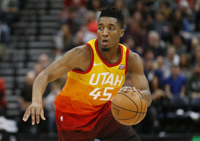 "<a class=""link rapid-noclick-resp"" href=""/nba/teams/uth/"" data-ylk=""slk:Utah Jazz"">Utah Jazz</a> guard <a class=""link rapid-noclick-resp"" href=""/ncaab/players/131179/"" data-ylk=""slk:Donovan Mitchell"">Donovan Mitchell</a> is having one of the most captivating rookie seasons in recent memory. (AP Photo/Rick Bowmer, File)"