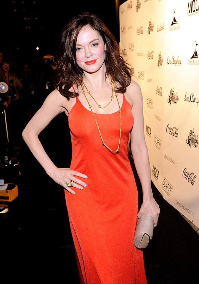 """Thankfully, Rose McGowan arrived at the MOCA wearing orange the right way. Arun Nevader/<a href=""""http://www.wireimage.com"""" target=""""new"""">WireImage.com</a> - March 19, 2009"""