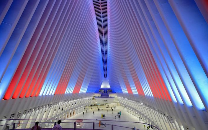 A view of the Oculus in New York illuminated in the colours of the US national flag - SOPA Images