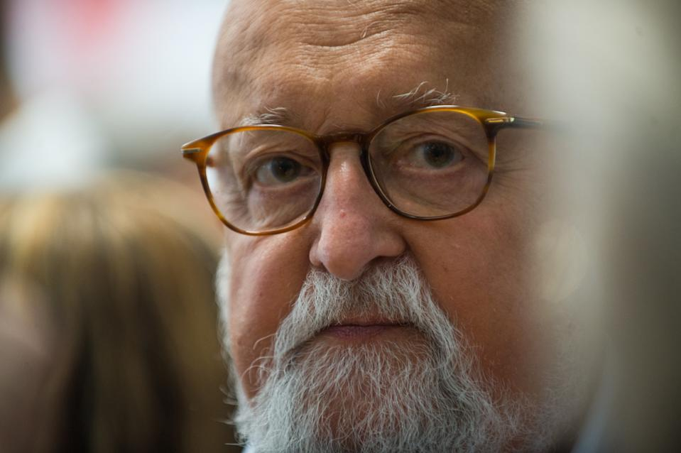 KRAKOW, POLAND - 2018/05/30: Polish Composer and Grammy Winner, Krzysztof Penderecki attends a press conference during the 11st Film Music Festival in Krakow. (Photo by Omar Marques/SOPA Images/LightRocket via Getty Images)