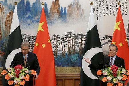 Pakistani Foreign Minister Shah Mehmood Qureshi attends a news conference after talks with Chinese Foreign Minister Wang Yi at the Diaoyutai State Guesthouse in Beijing, China March 19, 2019. REUTERS/Thomas Peter