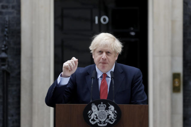 British Prime Minister Boris Johnson makes a statement on his first day back at work in Downing Street, London, after recovering from a bout with the coronavirus that put him in intensive care, Monday, April 27, 2020. (AP Photo/Frank Augstein)