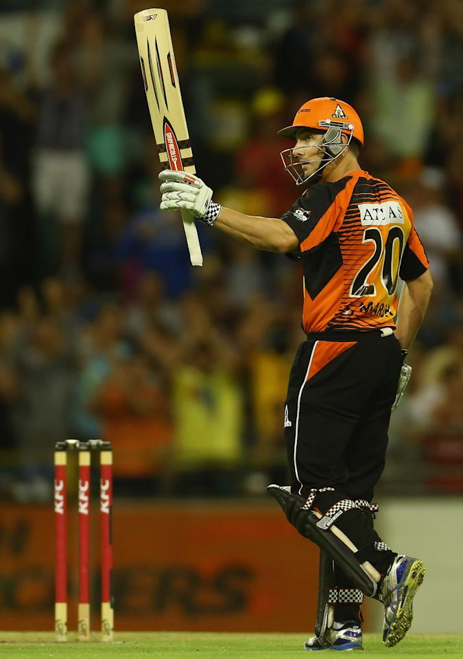 PERTH, AUSTRALIA - JANUARY 16: Shaun Marsh of the Perth Scorchers celebrates scoring his half century during the Big Bash League semi-final match between the Perth Scorchers and the Melbourne Stars at the WACA on January 16, 2013 in Perth, Australia.  (Photo by Robert Cianflone/Getty Images)