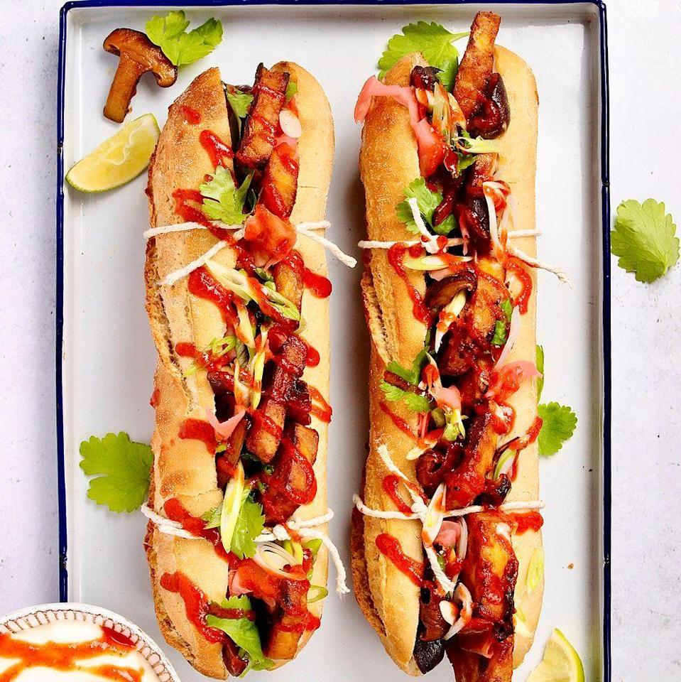 """<p>Banh Mi is a Vietnamese street food classic, and we've made a vegan version. We have used <a href=""""https://www.delish.com/uk/cooking/recipes/a34121193/mushroom-asparagus-risotto/"""" rel=""""nofollow noopener"""" target=""""_blank"""" data-ylk=""""slk:shiitakes"""" class=""""link rapid-noclick-resp"""">shiitakes</a> cooked in soy to add an extra savoury depth to the recipe but you could use a different <a href=""""https://www.delish.com/uk/cooking/recipes/g36418318/stuffed-mushrooms/"""" rel=""""nofollow noopener"""" target=""""_blank"""" data-ylk=""""slk:mushroom"""" class=""""link rapid-noclick-resp"""">mushroom</a> instead if you prefer.</p><p>Get the <a href=""""https://www.delish.com/uk/cooking/recipes/a37067272/bahn-mi/"""" rel=""""nofollow noopener"""" target=""""_blank"""" data-ylk=""""slk:Crispy Tofu Banh Mi with Soy Glazed Mushrooms"""" class=""""link rapid-noclick-resp"""">Crispy Tofu Banh Mi with Soy Glazed Mushrooms</a> recipe.</p>"""