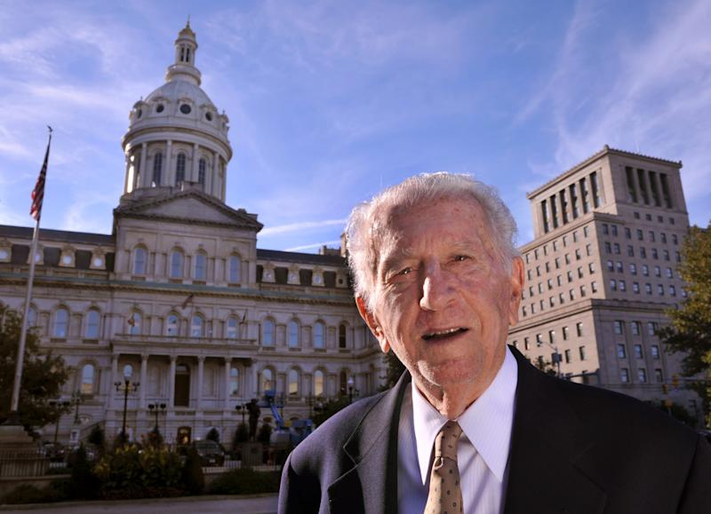 Former Baltimore Mayor Thomas D'Alesandro III, 87, poses for a photo outside City Hall in Baltimore, Md., Oct. 20, 2019.