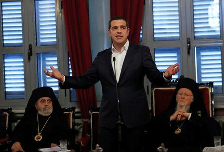 Greek Prime Minister Alexis Tsipras speaks during a meeting with Ecumenical Patriarch Bartholomew I at Halki Greek Orthodox Seminary on Heybeliada, an island near Istanbul, Turkey, February 6, 2019. REUTERS/Murad Sezer