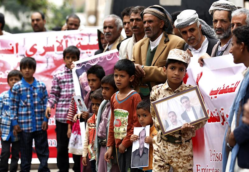 Yemeni protesters shout slogans calling for the release of prisoners during a demonstration in Sanaa: AFP