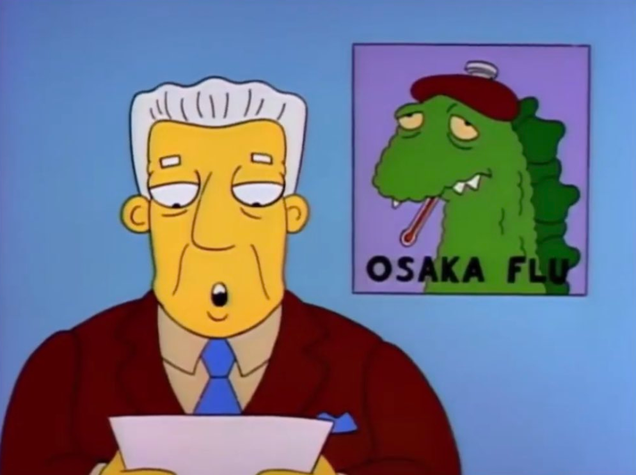 The Simpsons episode features the Osaka flu, which originated in Japan, with people drawing similarities between the fictional virus and the real-life coronavirus. Source: The Simpsons