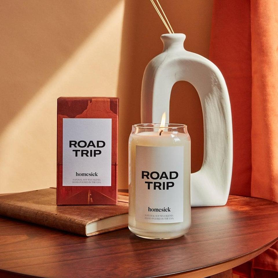 <p>With notes of lime, leather, marine, cedarwood, jasmine, and amber, the <span>Road Trip Candle</span> ($34) is an ode to spontaneous adventures!</p>