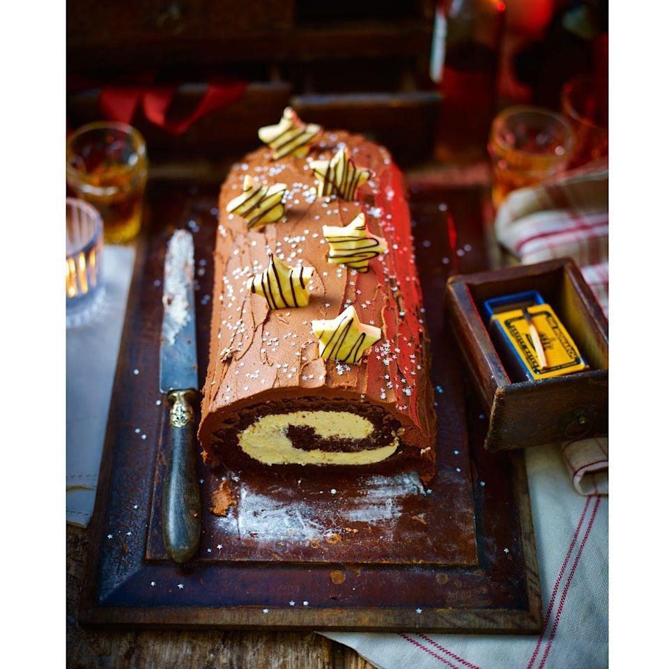 """<p>The whole family will love our triple-chocolate version of this classic.</p><p><strong>Recipe: <a href=""""https://www.goodhousekeeping.com/uk/christmas/christmas-recipes/a551326/triple-chocolate-buche-de-noel/"""" rel=""""nofollow noopener"""" target=""""_blank"""" data-ylk=""""slk:Triple chocolate Bûche de Noël"""" class=""""link rapid-noclick-resp"""">Triple chocolate Bûche de Noël</a></strong></p>"""