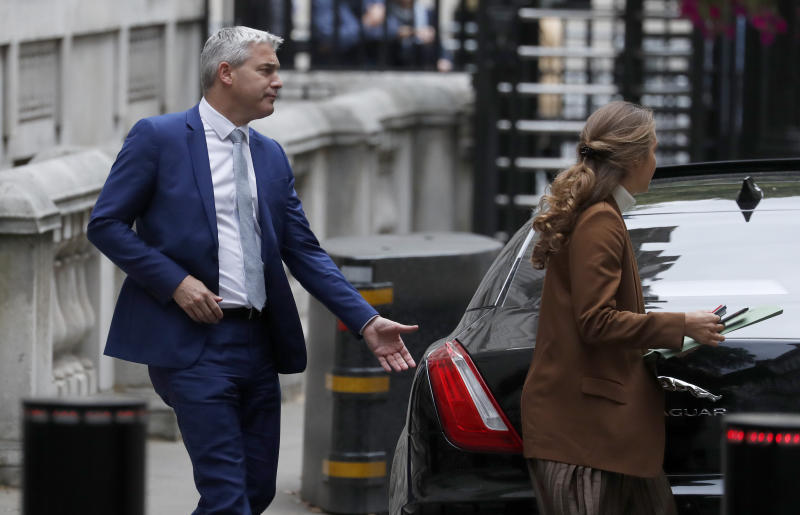 Britain's Secretary of State for Exiting the European Union Stephen Barclay leaves his office in Downing Street in London, Wednesday, Sept. 11, 2019. (AP Photo/Frank Augstein)