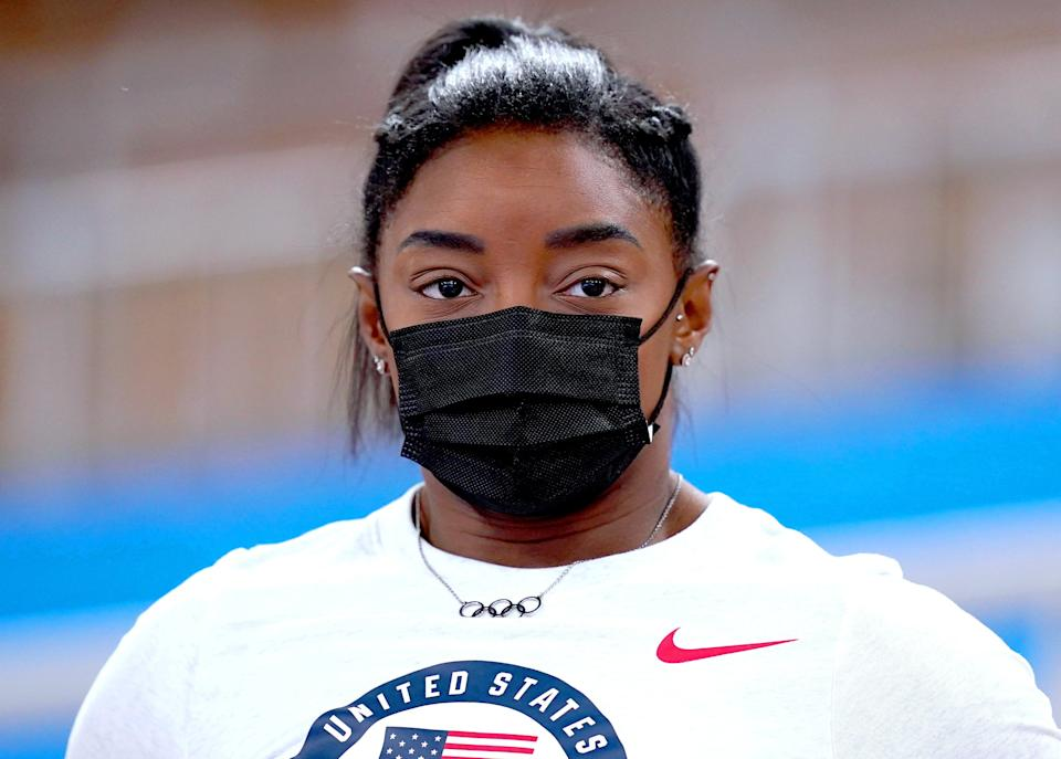 Simone Biles is in action on Tuesday (Mike Egerton/PA) (PA Wire)