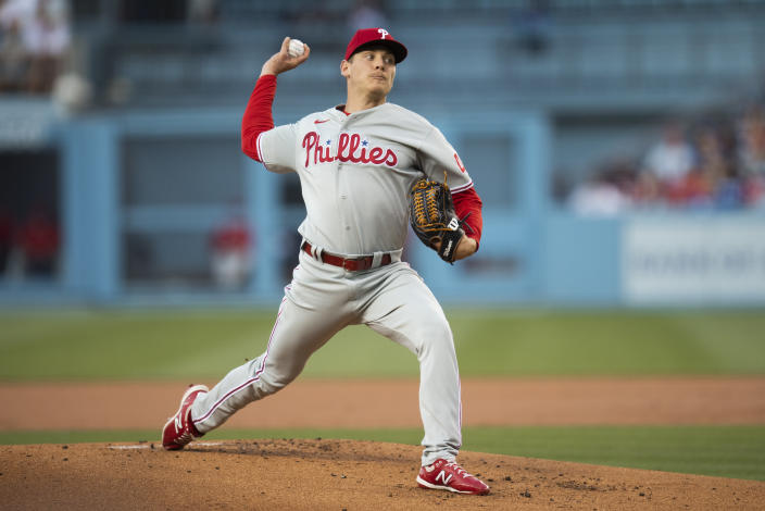 Philadelphia Phillies starting pitcher Spencer Howard delivers during the first inning of a baseball game against the Los Angeles Dodgers in Los Angeles, Monday, June 14, 2021. (AP Photo/Kyusung Gong)