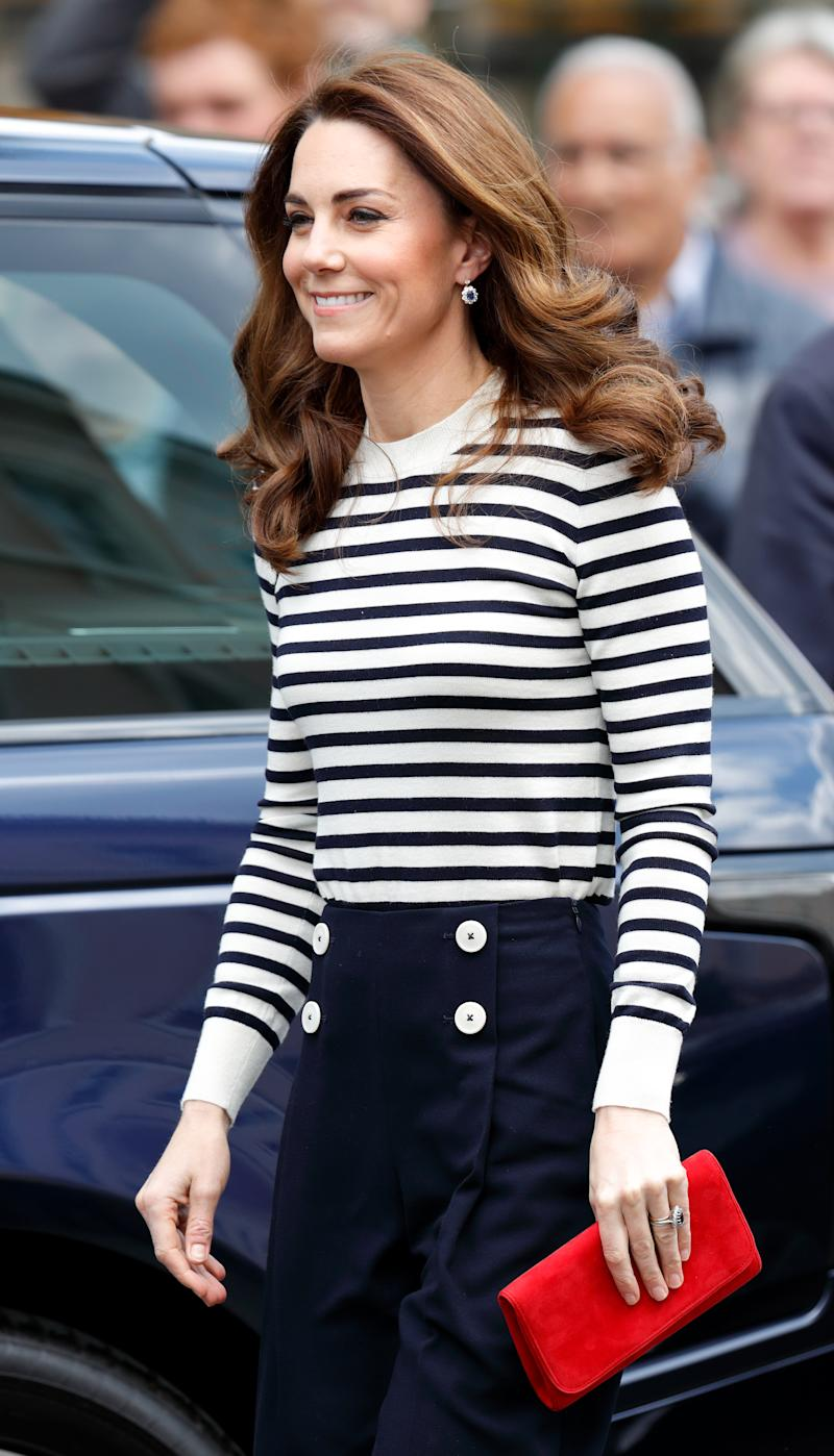 LONDON, UNITED KINGDOM - MAY 07: (EMBARGOED FOR PUBLICATION IN UK NEWSPAPERS UNTIL 24 HOURS AFTER CREATE DATE AND TIME) Catherine, Duchess of Cambridge attends the launch the King's Cup Regatta at the Cutty Sark, Greenwich on May 7, 2019 in London, England. The Regatta will take place in August on the Isle of Wight and see eight sailing boats, two of which skippered by the Duke & Duchess, race for The King's Cup. (Photo by Max Mumby/Indigo/Getty Images)