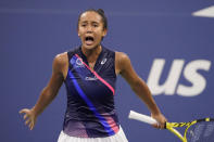 Leylah Fernandez, of Canada, reacts as she plays Angelique Kerber, of Germany, during the fourth round of the US Open tennis championships, Sunday, Sept. 5, 2021, in New York. (AP Photo/John Minchillo)
