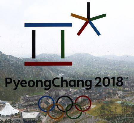 The PyeongChang 2018 Winter Olympic Games logo is seen at the the Alpensia Ski Jumping Centre in Pyeongchang, South Korea, September 27, 2017. REUTERS/Pawel Kopczynski