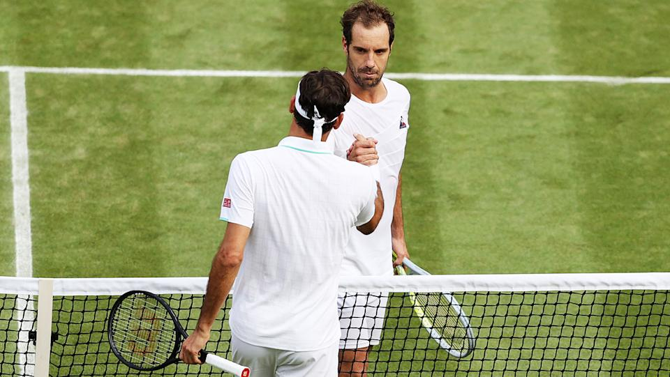 Roger Federer and Richard Gasquet, pictured here after their second-round clash at Wimbledon.