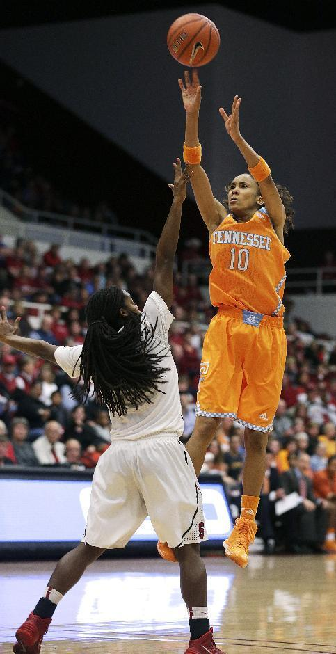 Tennessee guard Meighan Simmons (10) pulls up for a shot against Stanford guard Lili Thompson (1) during the first half of an NCAA women's college basketball game, Saturday, Dec. 21, 2013, in Stanford, Calif. (AP Photo/Tony Avelar)